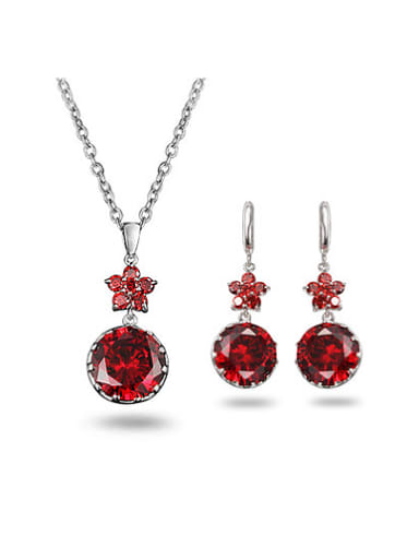 Personality Red Round Shaped Zircon Two Pieces Jewelry Set