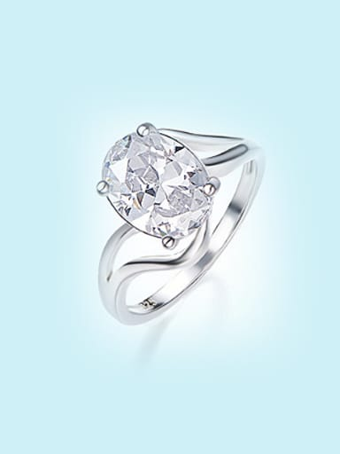 Fashion White Zircon 925 Silver Ring
