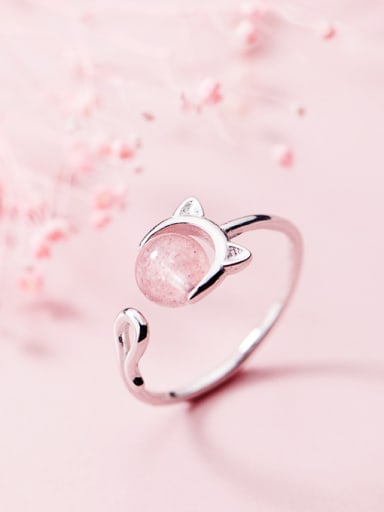 Simple and stylish cute kitten free size ring
