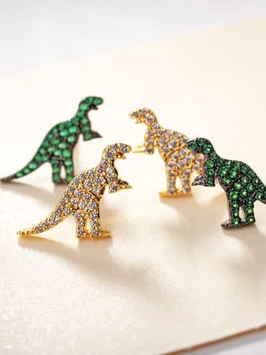 Micro-inlaid zircon dinosaur earrings