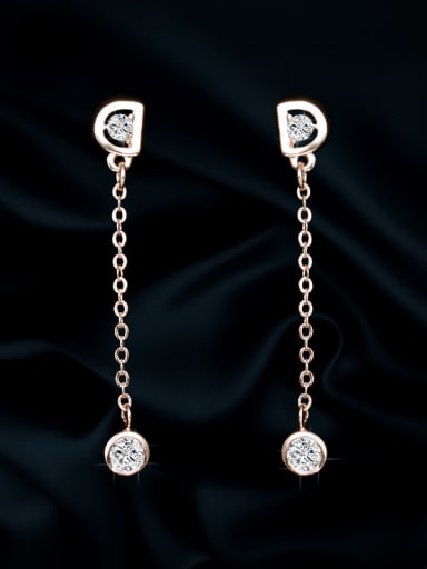 "Copper With Cubic Zirconia Simplistic Monogrammed  ""D""Threader Earrings"