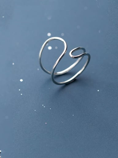 925 Sterling Silver With Platinum Plated Simplistic Double Layer Free Size Rings