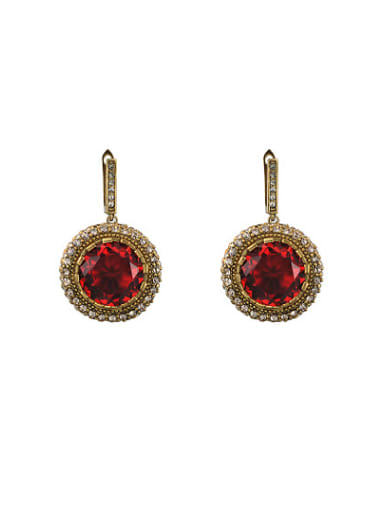 Vintage Red Round Shaped AAA Zircon Drop Earrings