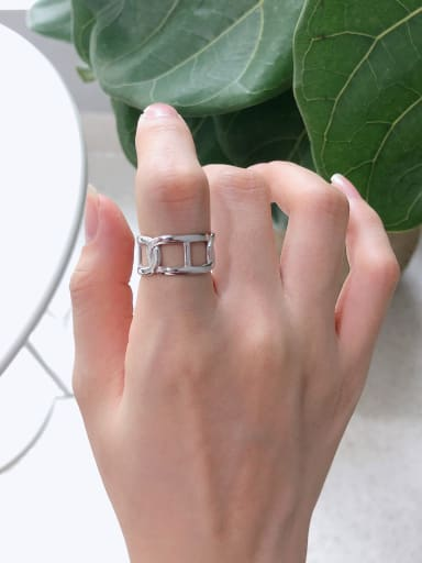 925 Sterling Silver With Platinum Plated Simplistic Geometric Midi Rings