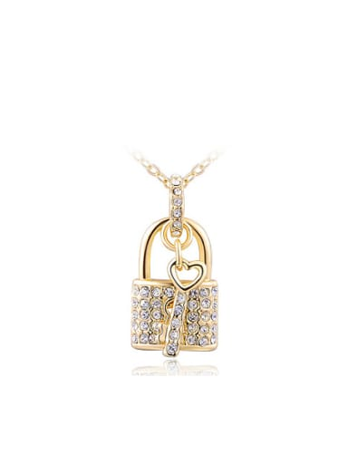 All-match 18K Gold Locket Shaped Crystal Necklace