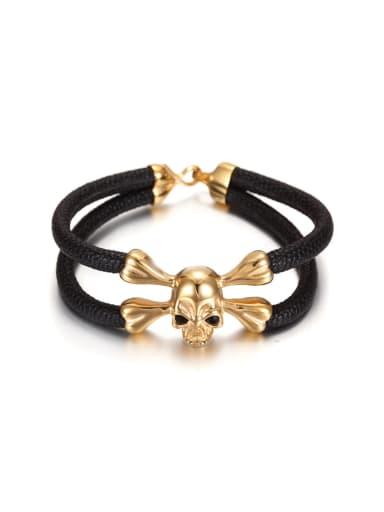 Titanium Gold Skull Shaped Leather Bracelet