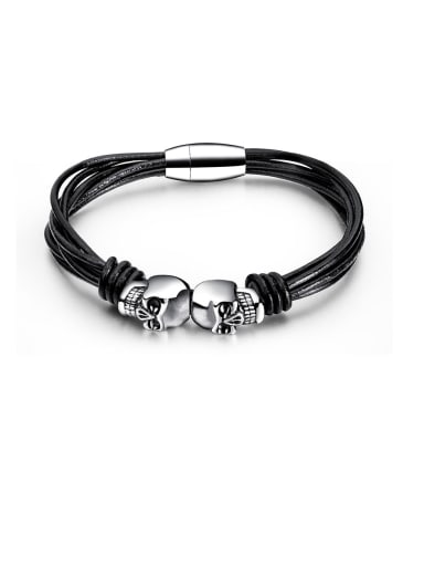 Stainless Steel With Platinum Plated Simplistic Skull Bracelets