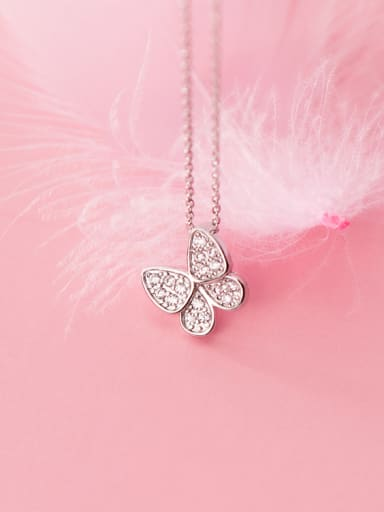 925 Sterling Silver With Platinum Plated Simplistic Butterfly Necklaces