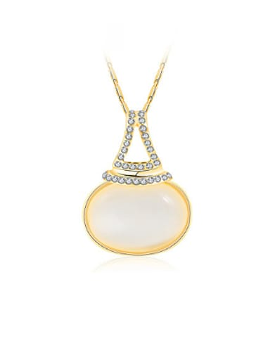 18K Gold Plated Gourd Shaped Opal Stone Necklace