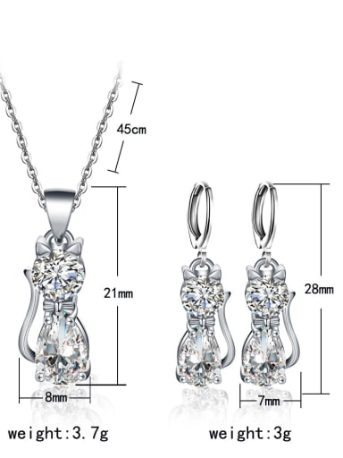 Fashionable Cat Shaped Two Pieces Jewelry