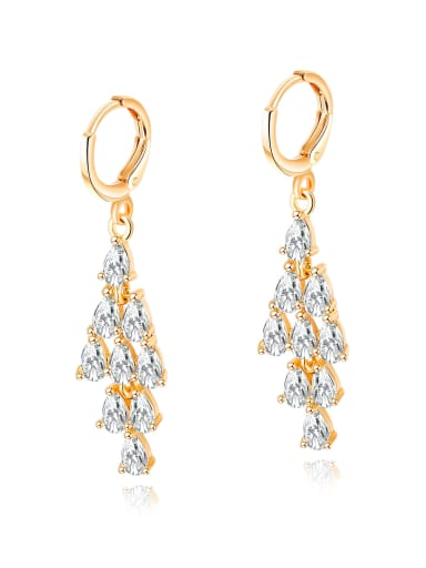 Copper With 18k Gold Plated Trendy Water Drop Earrings