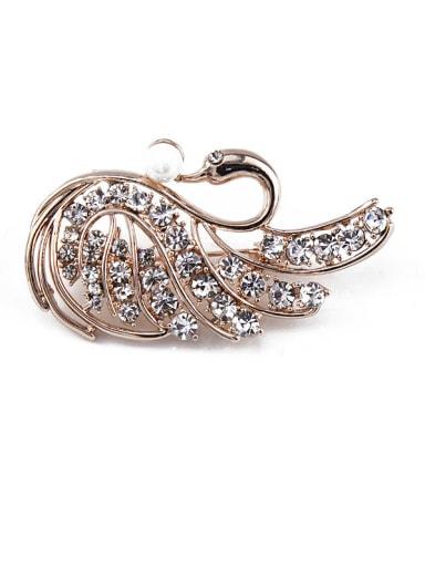 Swan Pearl Crystals Brooch