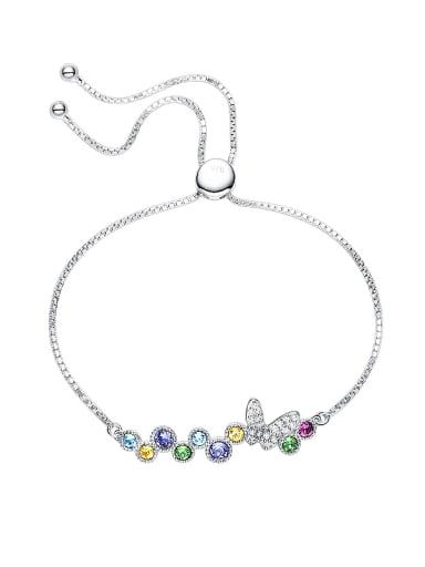 S925 Silver Multi-color Crystals Bracelet