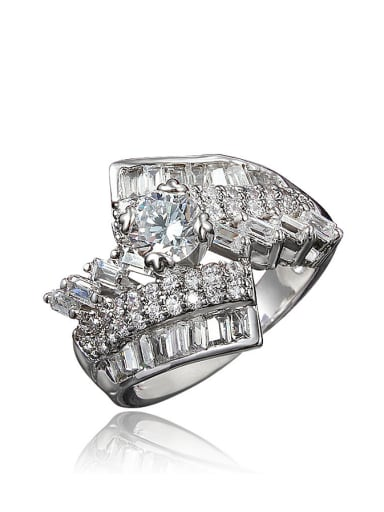 Women Shimmering Zircon Platinum Plated Copper Ring