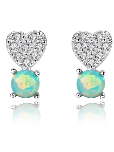 925 Sterling Silver Fashion Heart Stud Earrings