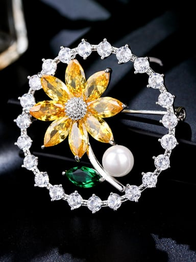 Copper With  Cubic Zirconia Trendy Flower Brooches
