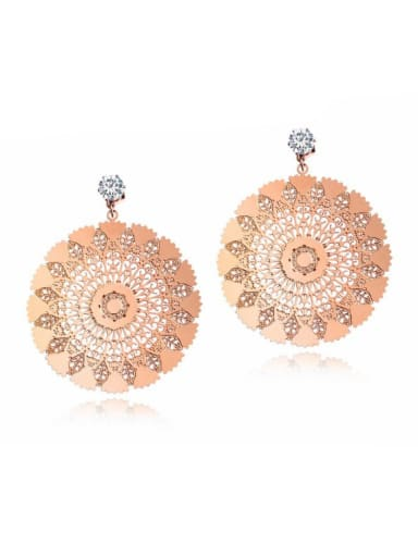 Stainless Steel With Rose Gold Plated Exaggerated Peacock screen Stud Earrings