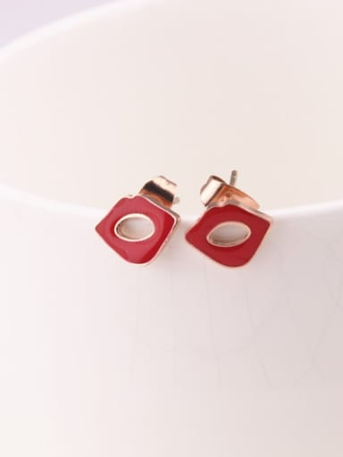 Red Enamel Fashion Stud Earrings