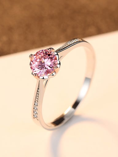 Pure silver color Zricon fashion wedding ring