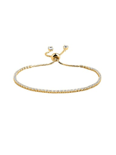 Simple Shiny Cubic Zirconias Copper Bracelet