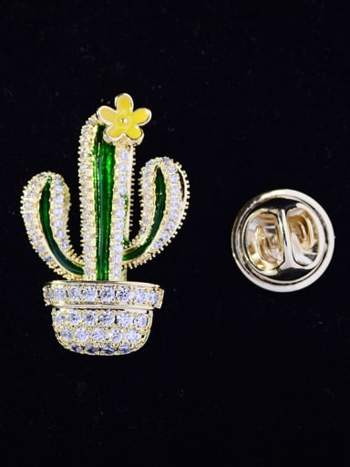 Copper With Cubic Zirconia Cute Cactus Lapel Pins
