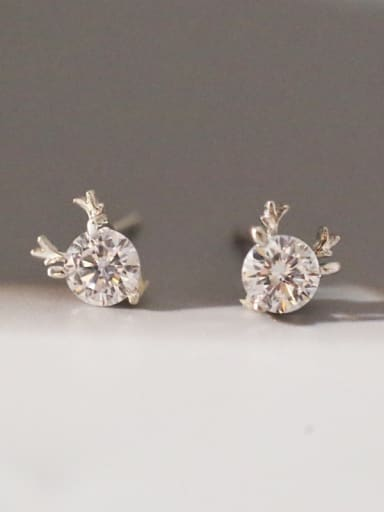 Shiny Cubic Rhinestone Little Deer Antler 925 Silver Stud Earrings