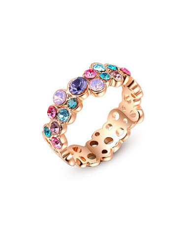 Multi-color Austria Crystal Geometric Shaped Ring