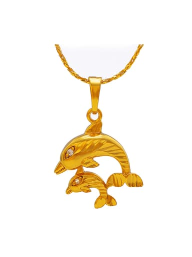 Copper Alloy 24K Gold Plated Fashion Dolphin Necklace