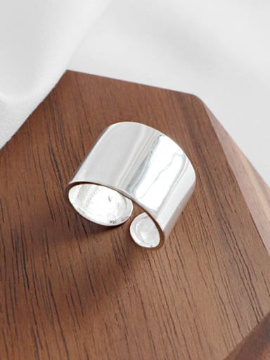 Sterling silver stylish personality CHIC style minimalist  wide face  ring