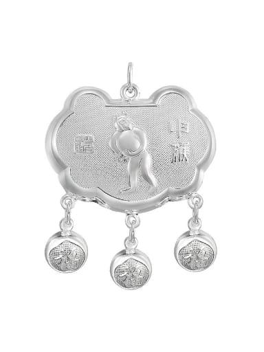 Ethnic style 999 Silver Zodiac Monkey Children Bells Longevity Lock Pendant