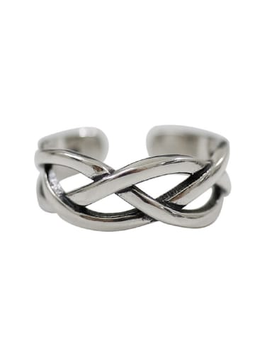 Retro style Hollow Woven Silver Opening Ring