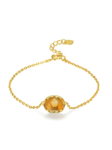 Fashion Natural Small Round Yellow Crystal Simple Bracelet