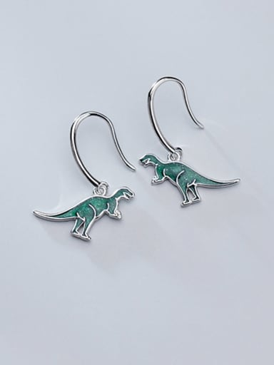 925 Sterling Silver With Platinum Plated Cute Dinosaur Hook Earrings