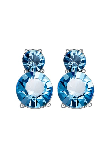 Simple Two Round Blue Swarovski Crystals Stud Earrings