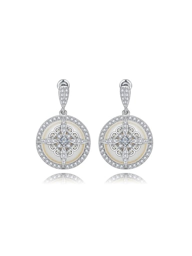 AAA zircon cross engraved Earrings
