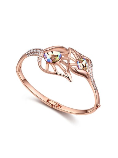 Fashion Rose Gold Plated Swarovski Crystals Hollow Alloy Bangle