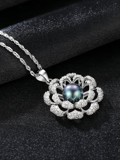 Sterling silver micro-inlaid zircon natural freshwater pearl flower necklace