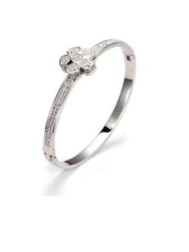 Europe And The United States Titanium Steel Diamond Plated Flower Bracelet