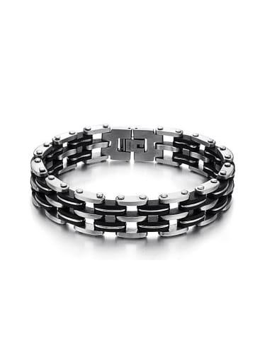 Fashion Black Silicone Titanium Men Bracelet