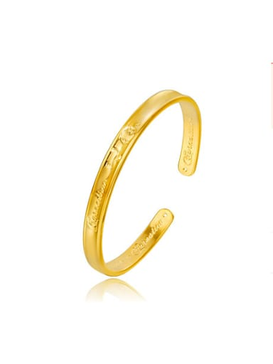 Copper Alloy 24K Gold Plated Retro style Opening Bangle