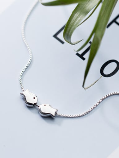 Lovely Double Fish Shaped S925 Silver Necklace