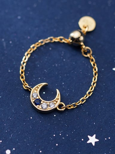 925 Sterling Silver With Gold Plated Simplistic Moon Free Size  Rings
