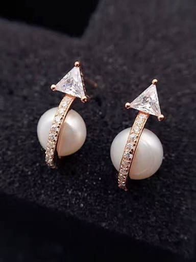 Personalized Freshwater Pearl Geometrical stud Earring