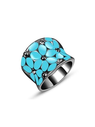 Blue Black Gun Plated Flower Pattern Enamel Ring