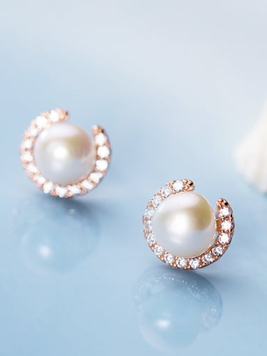 925 Sterling Silver With RArtificial Pearl  Simplistic Round Stud Earrings