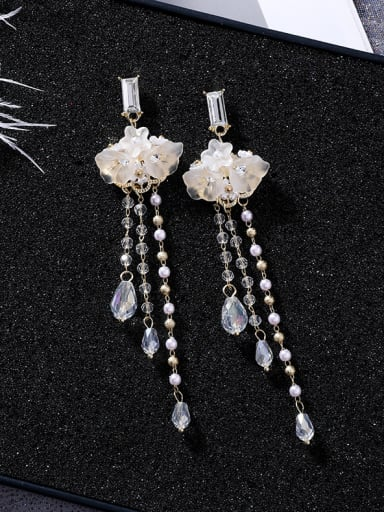 Alloy With  Artificial Pearl  Fashion Flower Water  Drop Earrings