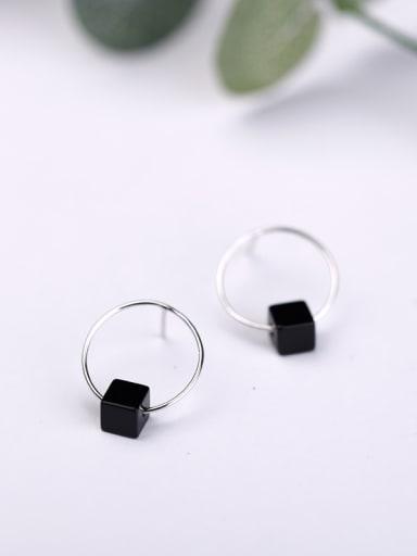 Fashion Black Stone Round Stud Earrings