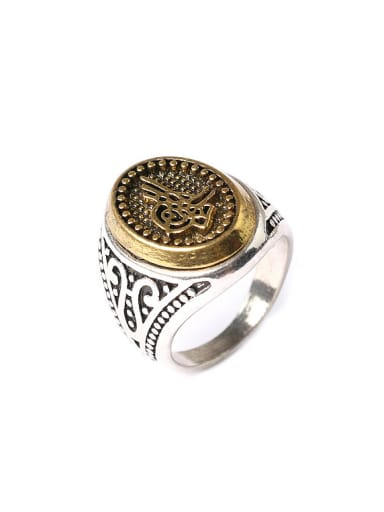 Punk style Retro Two-tone Plated Alloy Ring