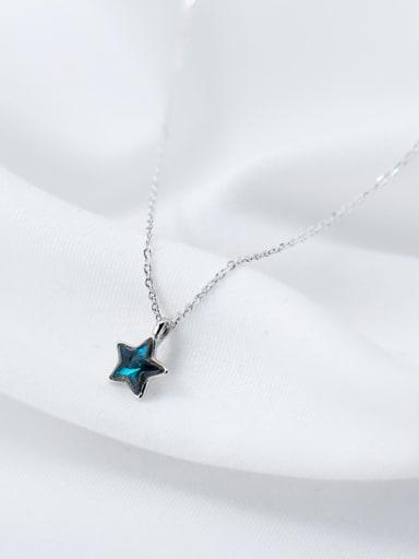 Elegant Blue Star Shaped Zircon S925 Silver Necklace