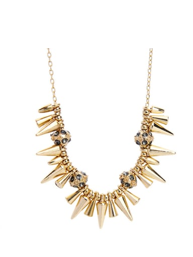 Fashion Rivets-Shaped Zircon Western Style Alloy Necklace